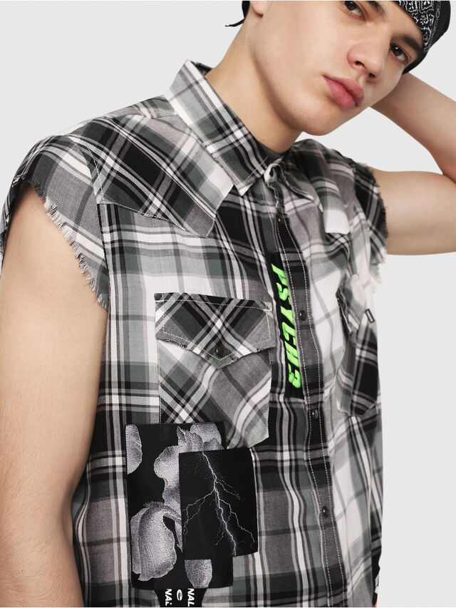 Diesel - S-EAST-LESS, Black/White - Shirts - Image 4