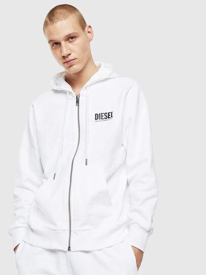 Diesel - S-GIRK-HOOD-ZIP-LOGO, White - Sweaters - Image 1