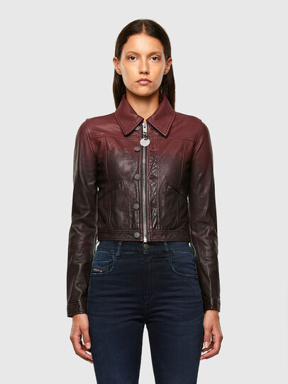 Diesel - L-SHAE, Dark Violet - Leather jackets - Image 1