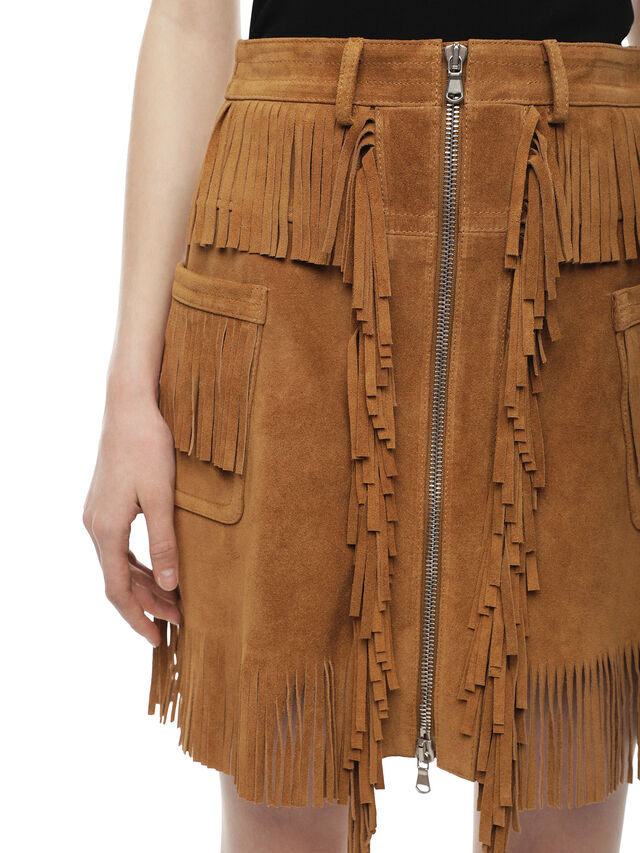 Diesel - OSCAP, Brown/Beige - Leather skirts - Image 4