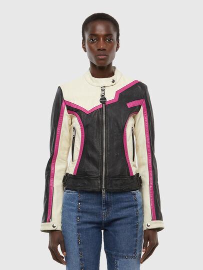 Diesel - L-JOBE, Black/White - Leather jackets - Image 1