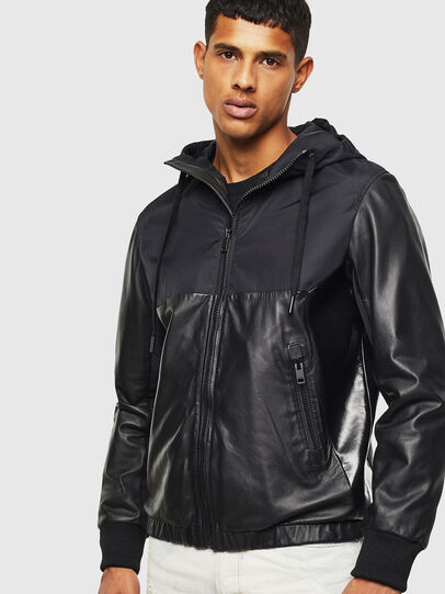Diesel - L-CARRS, Black - Leather jackets - Image 1