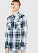 S-EAST-LONG-F, White/Blue - Shirts