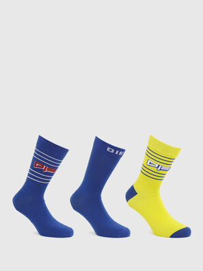 SKM-RAY-THREEPACK, Blue/Yellow - Socks