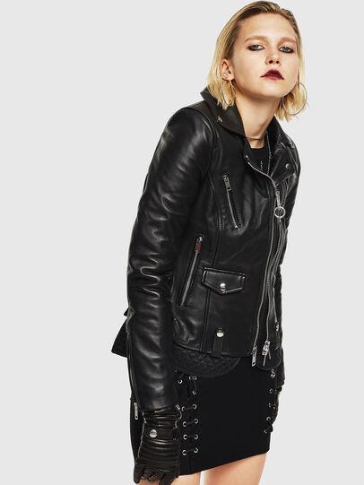 Diesel - L-CARAMA, Black - Leather jackets - Image 1