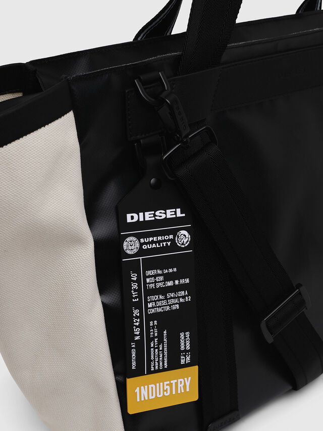 Diesel - F-CAORLY SHOPPER L, Black/White - Shopping and Shoulder Bags - Image 3