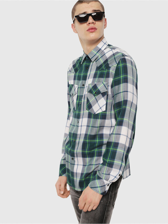 Diesel - S-EAST-LONG-F, Green/Grey - Shirts - Image 1