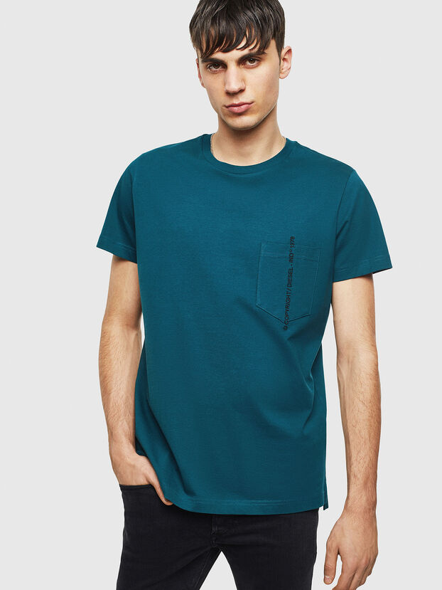 T-RUBIN-POCKET-J1, Water Green - T-Shirts