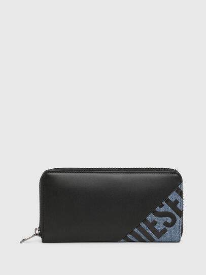 Diesel - 24 ZIP, Black/Blue - Zip-Round Wallets - Image 1