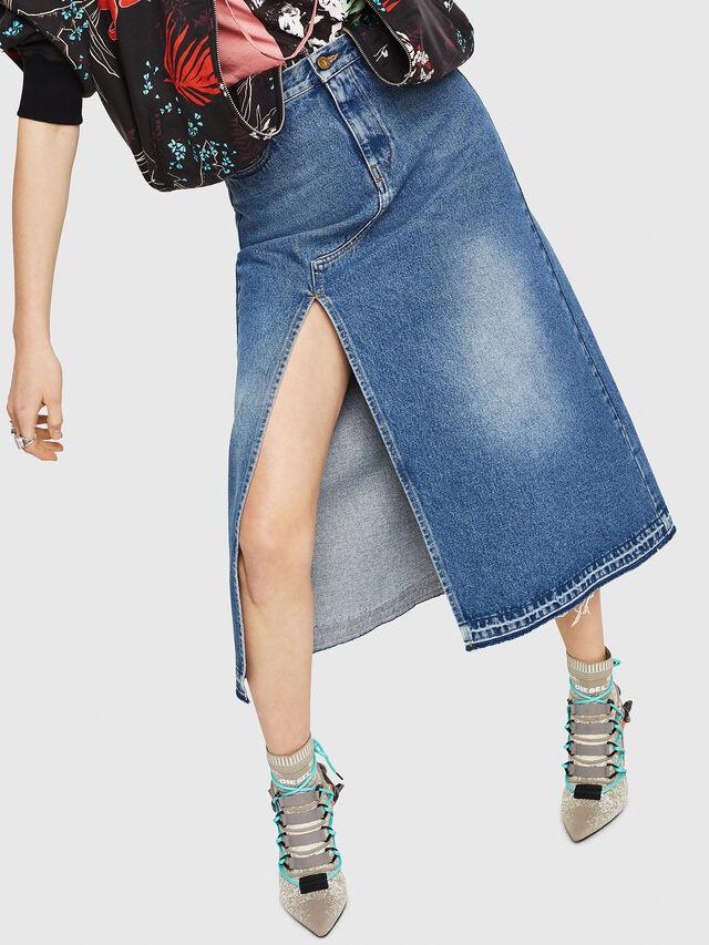 Diesel - DE-VYVIEN, Medium blue - Skirts - Image 4