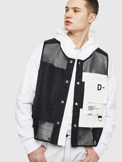 Diesel - J-FISHMESH, Black/White - Jackets - Image 4