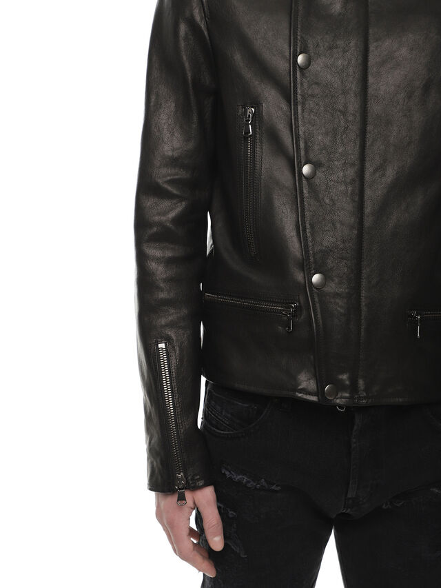 Diesel - LAZING, Black - Leather jackets - Image 4