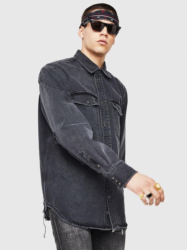 Diesel - D-ROOKE-L, Black/Grey - Denim Shirts - Image 5