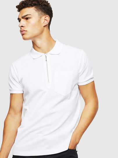 Diesel - T-POLZIP-POCKETS-J1, White - Polos - Image 1