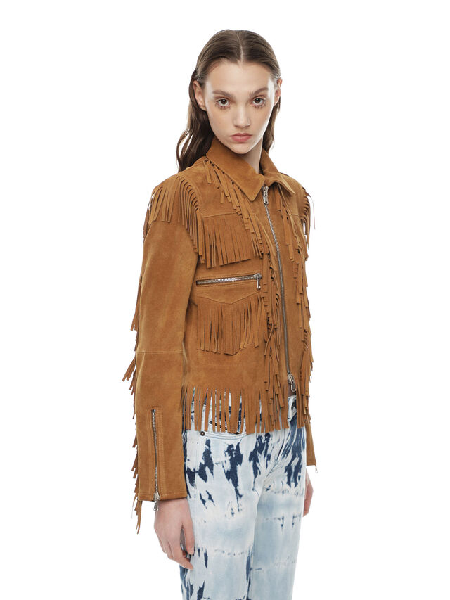 Diesel - LAUL, Brown/Beige - Leather jackets - Image 3