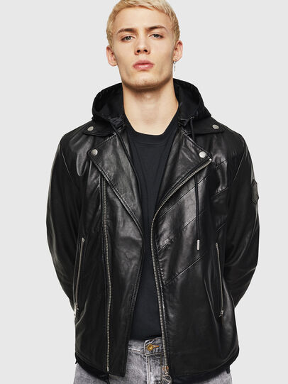 Diesel - L-SOLOVE, Black - Leather jackets - Image 1