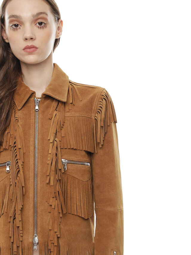 Diesel - LAUL, Brown/Beige - Leather jackets - Image 4