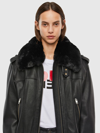 Diesel - L-LIV, Black - Leather jackets - Image 3