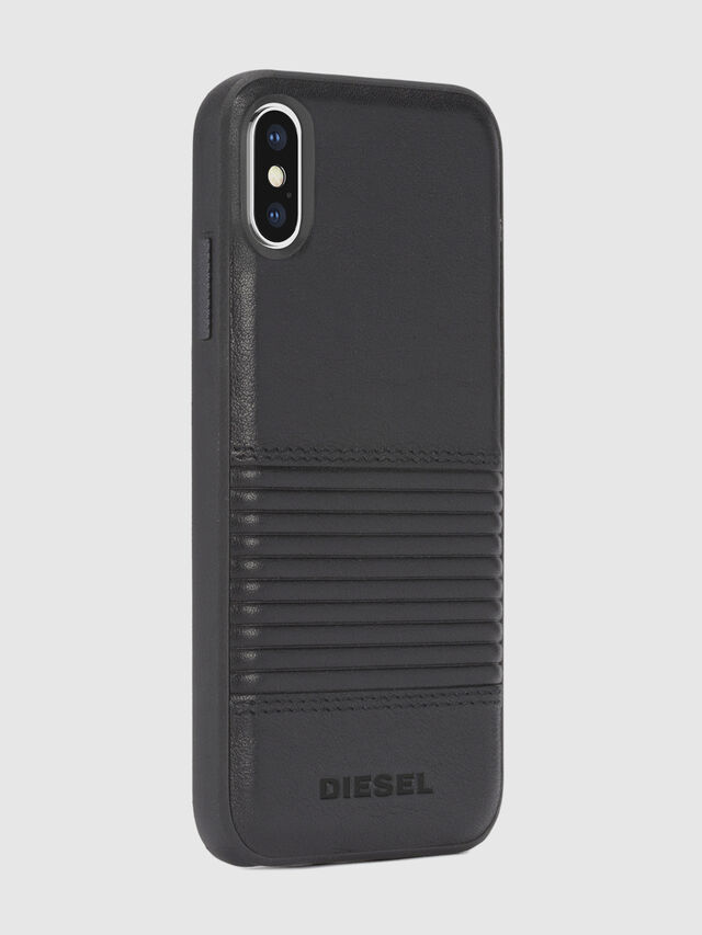 Diesel BLACK LINED LEATHER IPHONE X CASE, Black Leather - Cases - Image 5