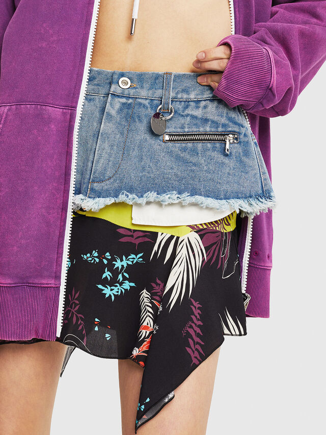 Diesel - O-BRIELLA, Black/Blue - Skirts - Image 4