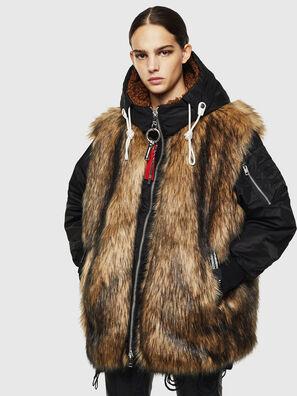 L-ALYANA, Black/Brown - Leather jackets