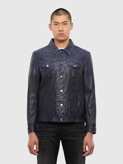 Diesel - L-NHILL-TRE, Dark Blue - Leather jackets - Image 1