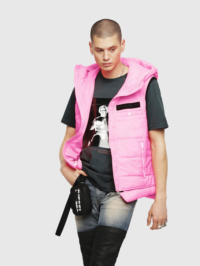 Diesel - W-SUN-REV-SLESS, Pink Fluo - Winter Jackets - Image 1