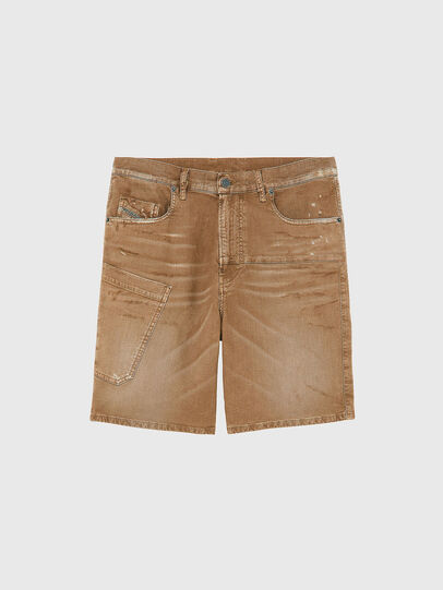 Diesel - D-AZERR-SHORT JOGGJEANS, Brown - Shorts - Image 1