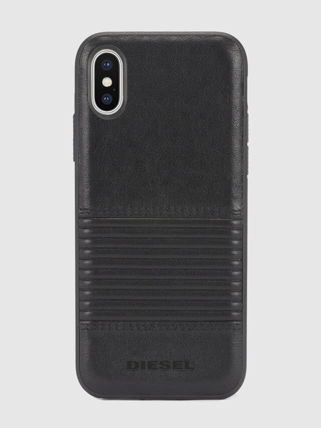 Diesel - BLACK LINED LEATHER IPHONE X CASE, Black Leather - Cases - Image 2