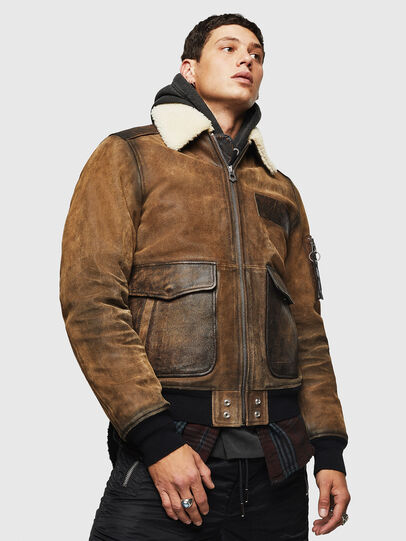 Diesel - L-OIUKIRO, Brown - Leather jackets - Image 1