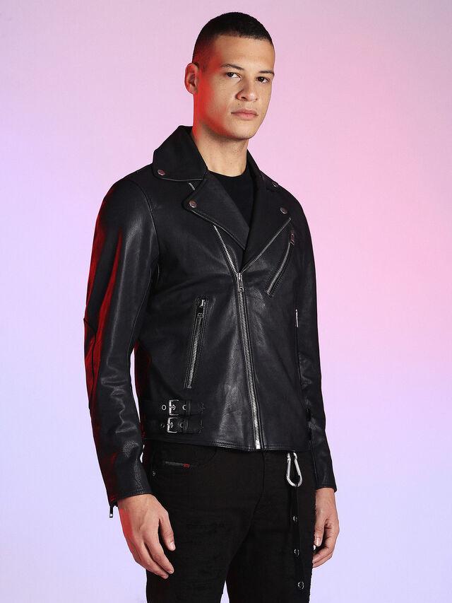 Diesel - LU-L-KRAMPS, Black - Leather jackets - Image 6