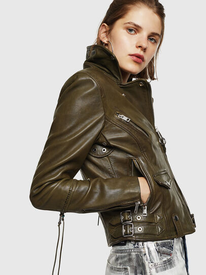 Diesel - L-SINYA-A, Military Green - Leather jackets - Image 3