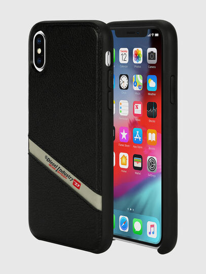 Diesel - DIESEL LEATHER CO-MOLD CASE FOR IPHONE XS & IPHONE X, Black - Cases - Image 1