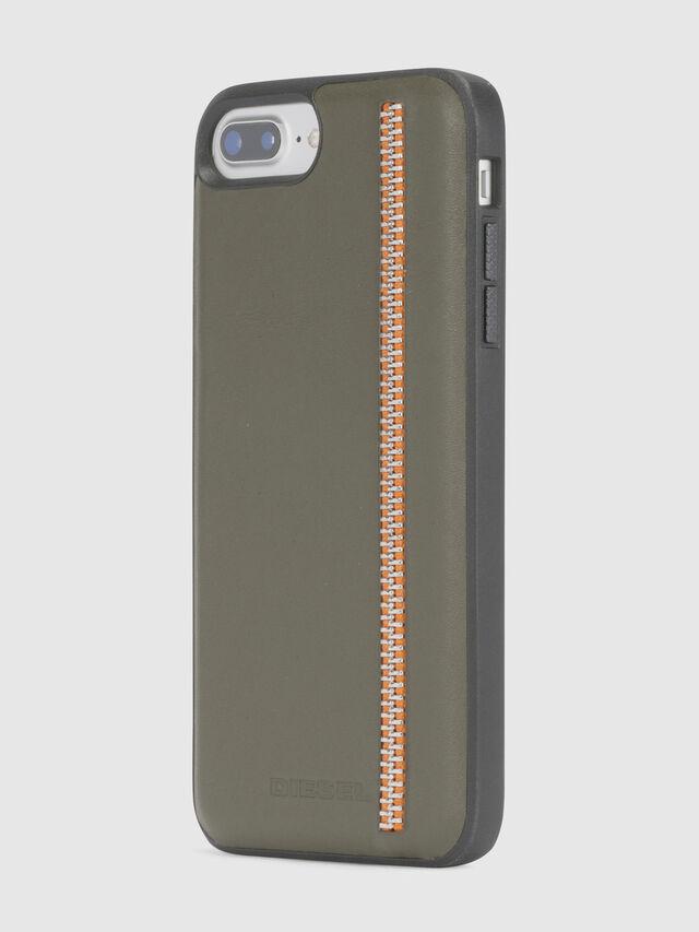 Diesel - ZIP OLIVE LEATHER IPHONE 8 PLUS/7 PLUS/6s PLUS/6 PLUS CASE, Olive Green - Cases - Image 3