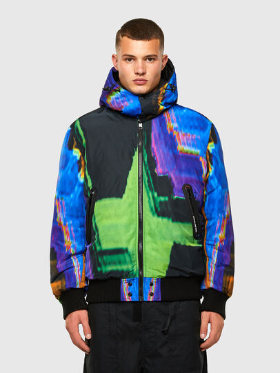 Diesel - W-ON-AOP, Blue/Green - Winter Jackets - Image 1