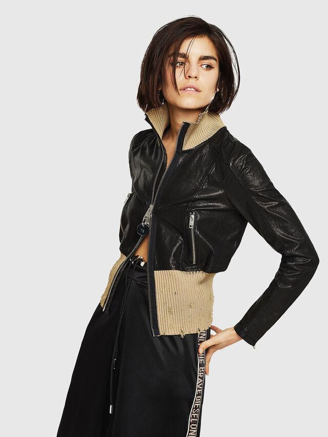Diesel - L-LYS, Black/Beige - Leather jackets - Image 1