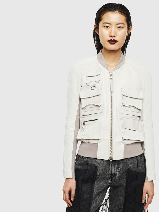 L-CERITE, White - Leather jackets