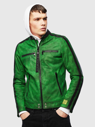 Diesel - L-BOY-A, Green - Leather jackets - Image 1