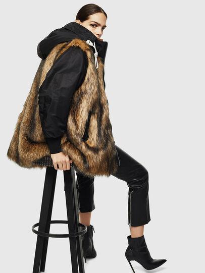 Diesel - L-ALYANA, Black/Brown - Leather jackets - Image 4
