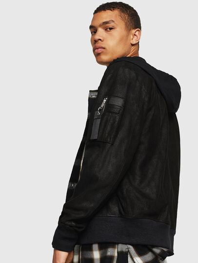 Diesel - L-NIKOLAI, Black - Leather jackets - Image 3