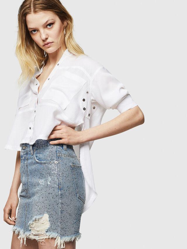 Diesel - DE-ELLE-S, Blue Jeans - Skirts - Image 3