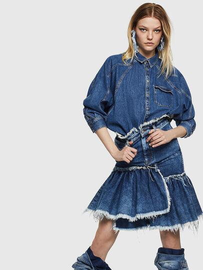 Diesel - DE-ALAYNA, Medium blue - Skirts - Image 4