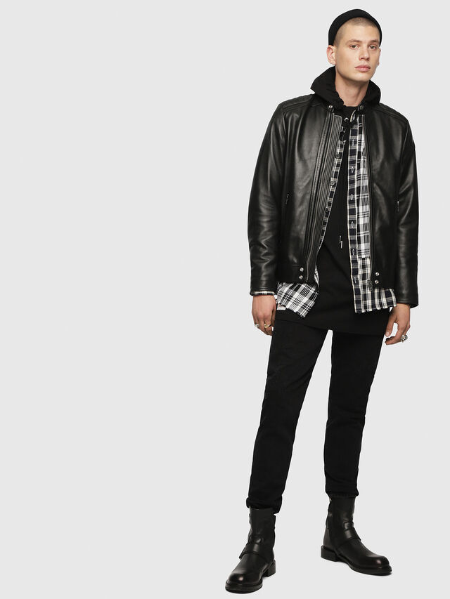 Diesel - L-SHIRO-WH, Black - Leather jackets - Image 4