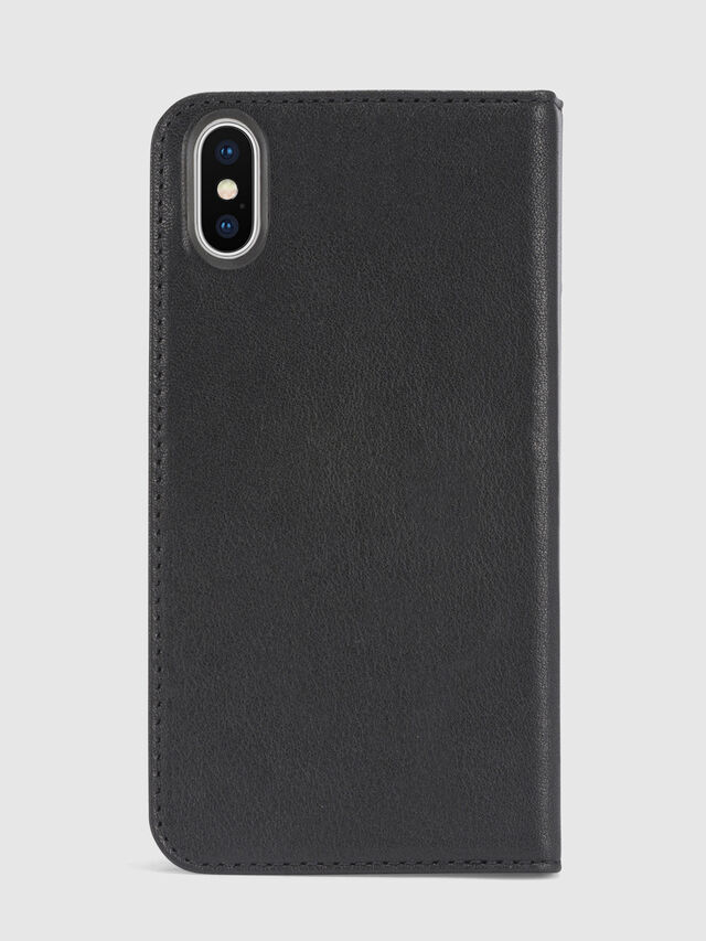 Diesel BLACK DENIM/STUD/ZIPPER IPHONE X FOLIO, Black - Flip covers - Image 3