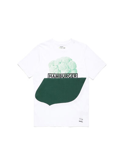 Diesel - D-SHIELD-GREEN, White - T-Shirts - Image 1