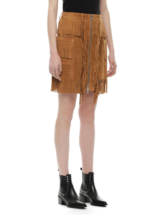 Diesel - OSCAP, Brown/Beige - Leather skirts - Image 3