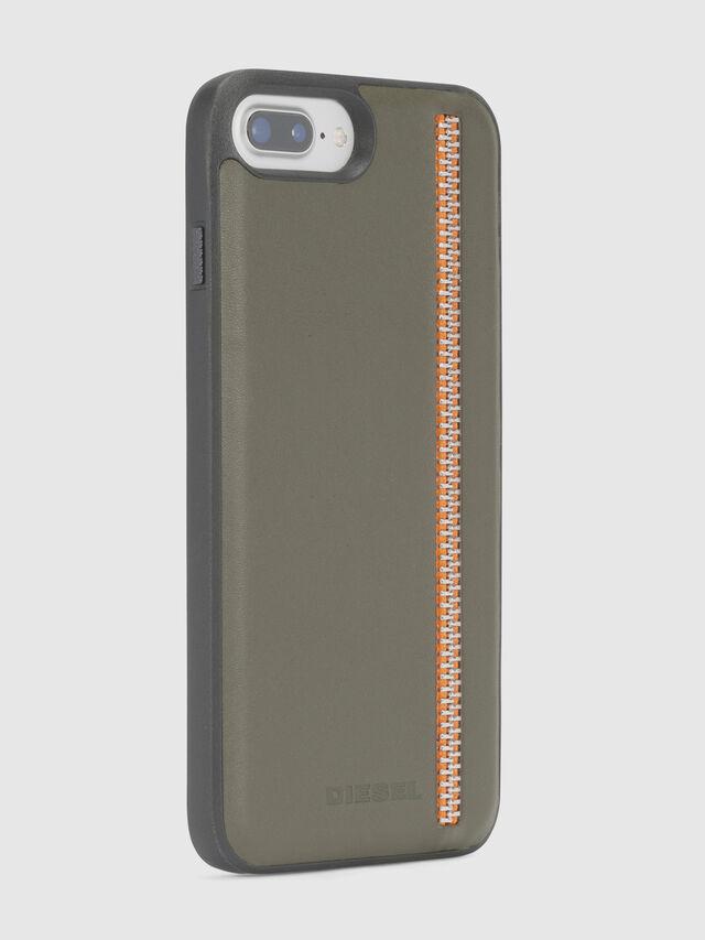 Diesel - ZIP OLIVE LEATHER IPHONE 8 PLUS/7 PLUS/6s PLUS/6 PLUS CASE, Olive Green - Cases - Image 4