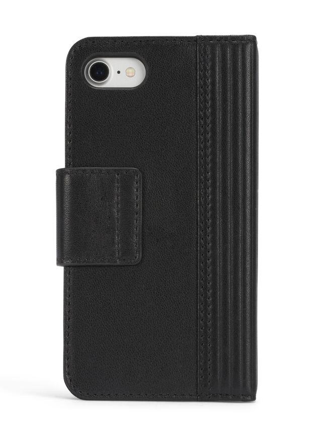 Diesel BLACK LINED LEATHER IPHONE 8 PLUS/7 PLUS FOLIO, Black - Flip covers - Image 5